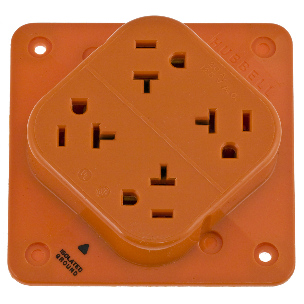 Hubbell Wiring Devices IG420 20 Amp 125 VAC 2-Pole 3-Wire NEMA 5-20R Orange Isolated Ground Straight Blade Receptacle