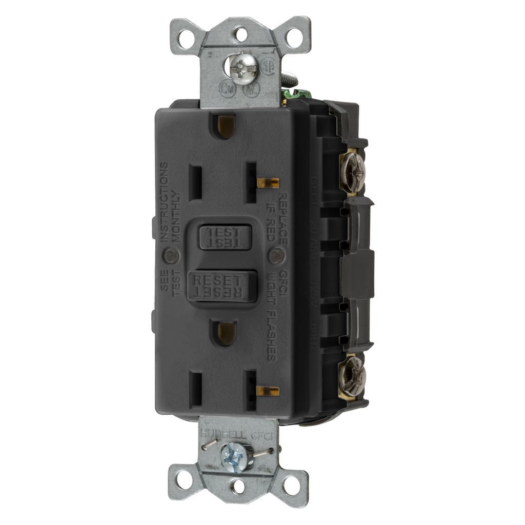 Hubbell Wiring Devices GFRST20BK 20 Amp Black Commercial Self-Test Ground Fault Receptacle