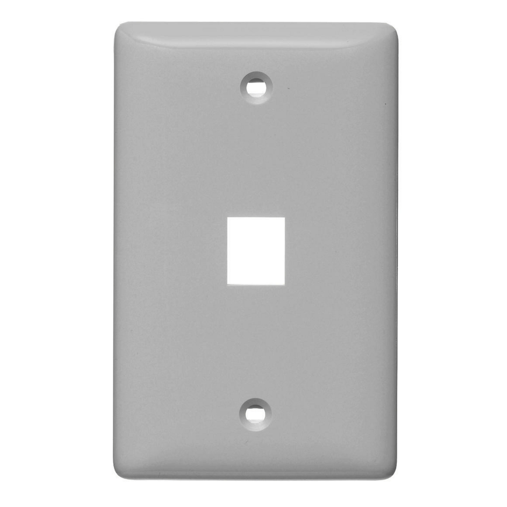 Mayer-Plate, Wall, Label-Less, 1-Gang, 1- Port, Gray-1