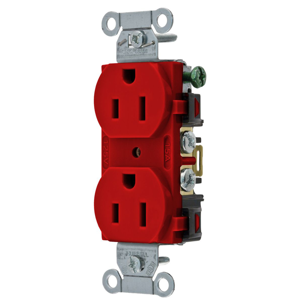 Hubbell Wiring Devices 5252AR 15 Amp 125 Volt 2-Pole 3-Wire NEMA 5-15R Red Straight Blade Duplex Receptacle