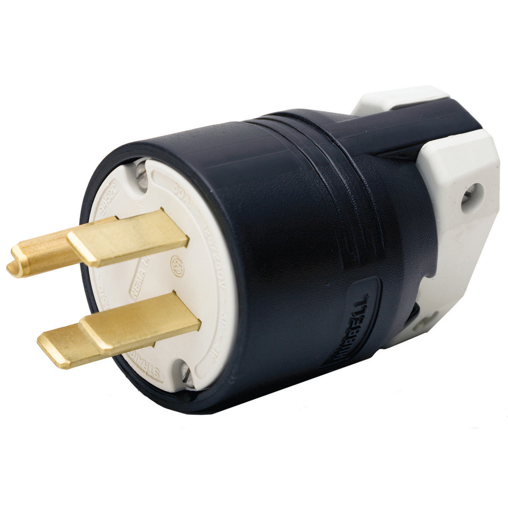 Hubbell Wiring Devices HBL9451C 50 Amp 125/250 Volt 3-Pole 4-Wire NEMA 14-50P Black and White Straight Blade Plug