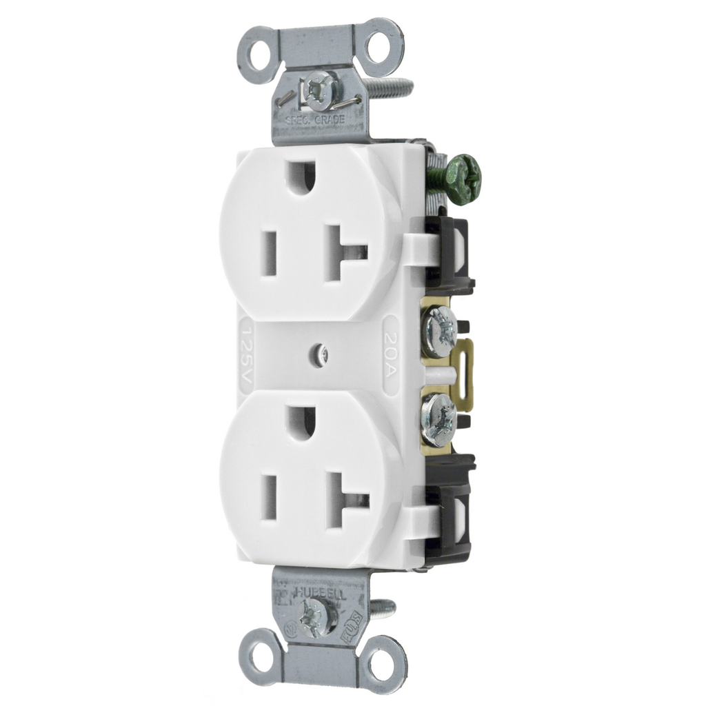 Hubbell Wiring Devices BR20WHI 20 Amp 125 Volt 2-Pole 3-Wire NEMA 5-20R White Nylon Straight Blade Duplex Receptacle