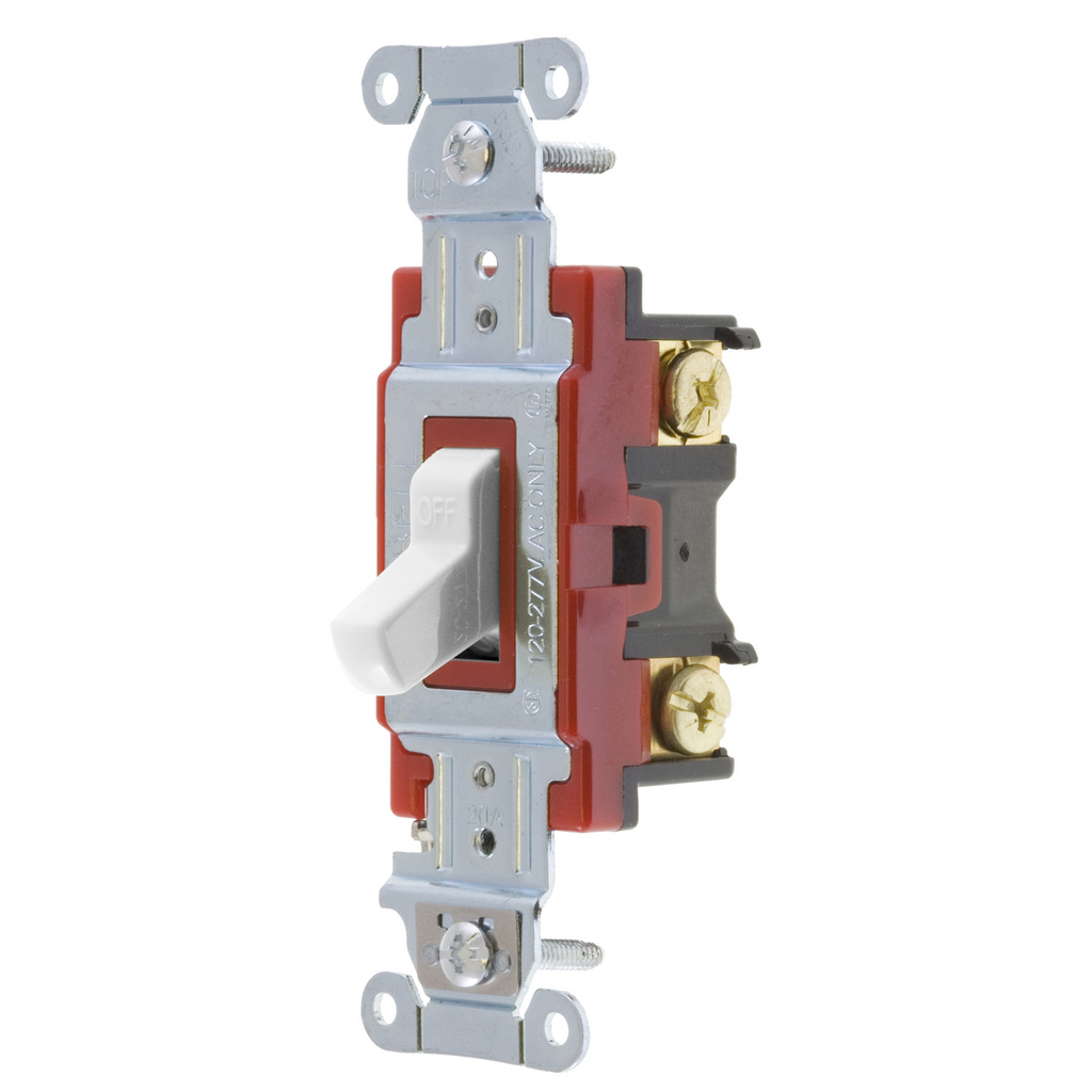 Hubbell Wiring Devices 1222W 20 Amp 120/277 VAC 2-Pole White Toggle Switch