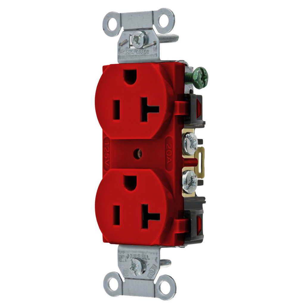 Hubbell Wiring Devices 5352AR 20 Amp 125 Volt 2-Pole 3-Wire NEMA 5-20R Red Straight Blade Duplex Receptacle