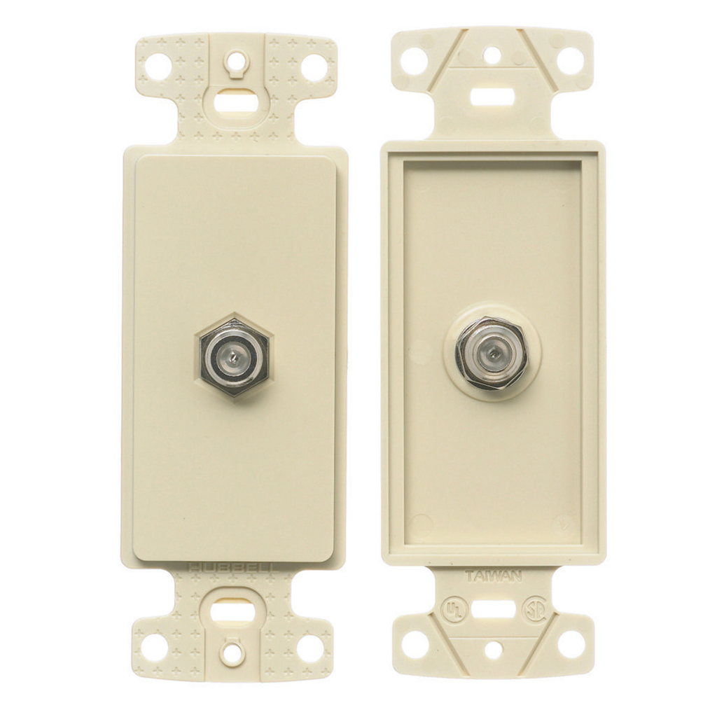 Mayer-Plates, 1-Gang Frame, Decorator, With F-Connector, Light Almond-1