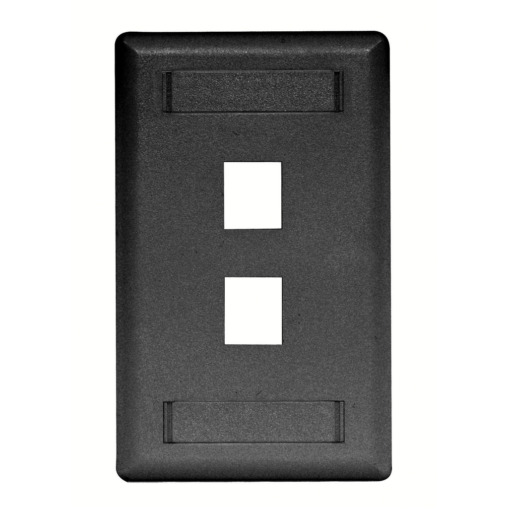 Mayer-Phone/Data/Multimedia Faceplate, Face Plate, Rear-Loading, 2-Port, Single-Gang, Black-1