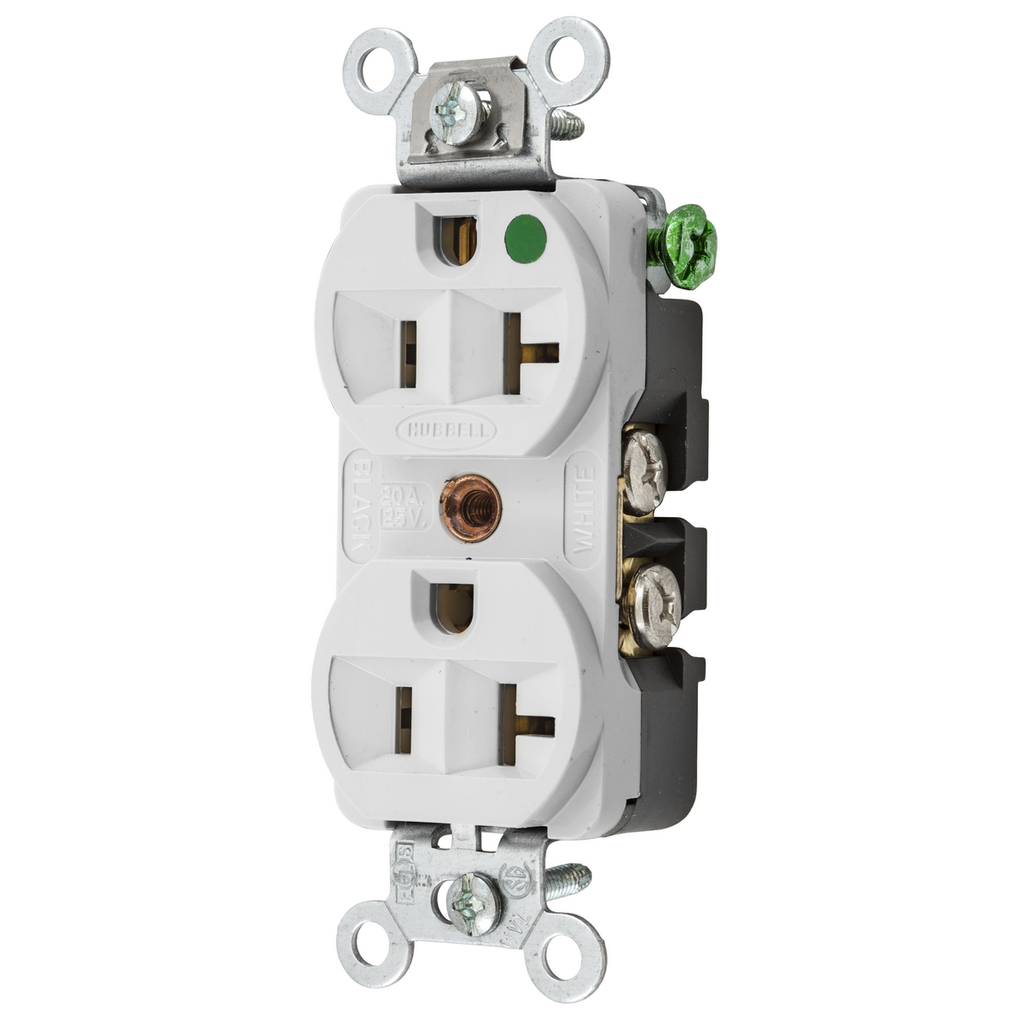 Hubbell Wiring Devices HBL8300HW 20 Amp 125 Volt 2-Pole 3-Wire NEMA 5-20R White Straight Blade Duplex Receptacle