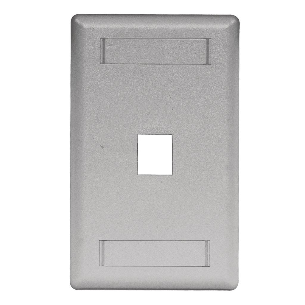 Mayer-Phone/Data/Multimedia Faceplate, Face Plate, Rear-Loading, 1-Port, Single-Gang, Gray-1