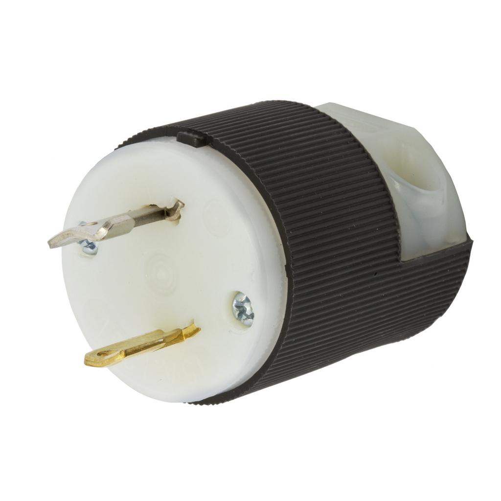 Hubbell Wiring Devices HBL7545C 15 Amp 125 Volt 2-Pole 2-Wire NEMA L1-15P Black and White Locking Plug