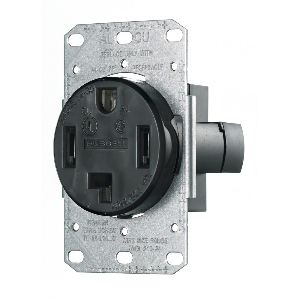 Hubbell Wiring Devices RR430F 30 Amp 125/250 Volt 3-Pole 4-Wire NEMA 14-30R Black Range and Dryer Power Receptacle