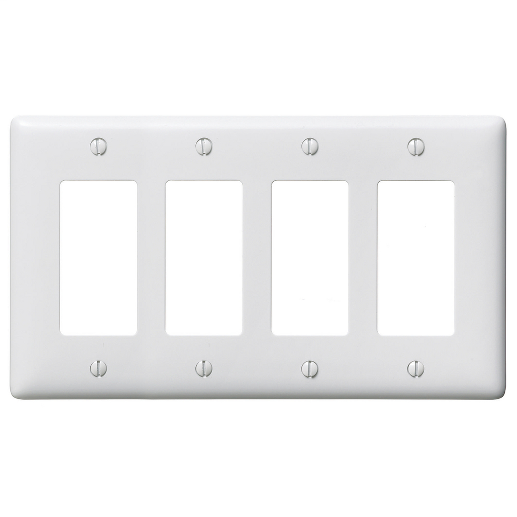 Hubbell Wiring Devices NP264W 4-Gang White Nylon Standard 4-Decorator Switch Wallplate