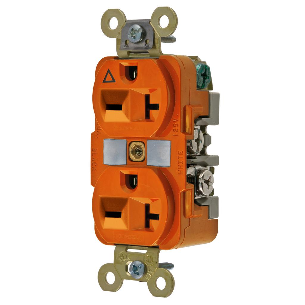 Hubbell IG5462 20 Amp 250 Volt 2-Pole 3-Wire NEMA 6-20R Orange Isolated Ground Straight Blade Duplex Receptacle