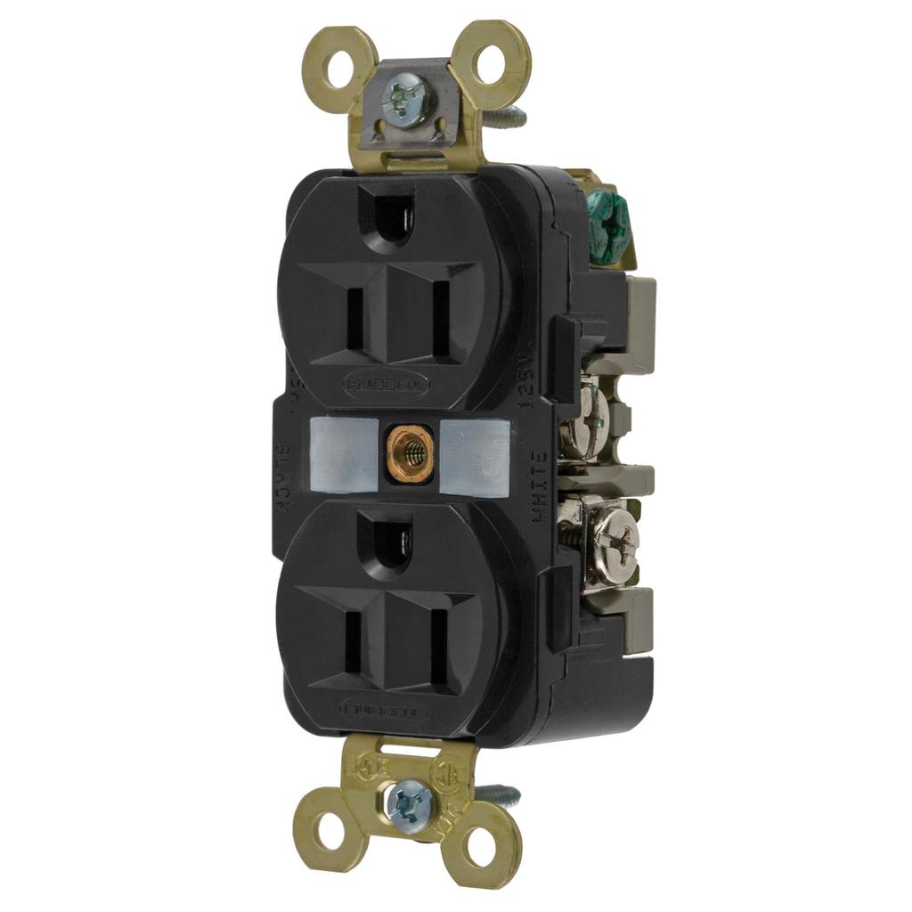 Hubbell Wiring Devices HBL5262BK 15 Amp 125 Volt 2-Pole 3-Wire NEMA 5-15R Black Straight Blade Duplex Receptacle