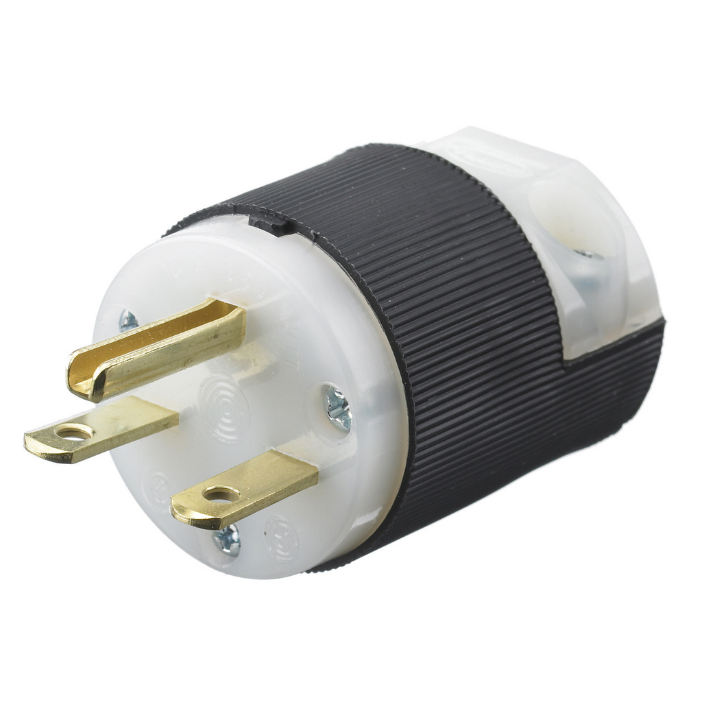 Hubbell Wiring Devices HBL5666C 15 Amp 250 Volt 2-Pole 3-Wire NEMA 6-15P Black and White Straight Blade Plug