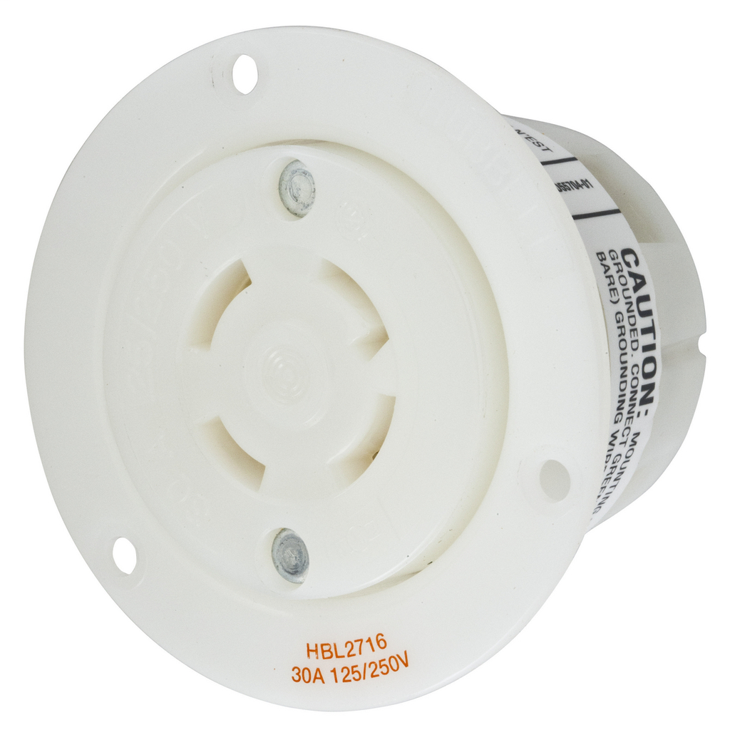 Hubbell Wiring Devices HBL2716 30 Amp 125/250 Volt 3-Pole 4-Wire NEMA L14-30R White Locking Flanged Receptacle