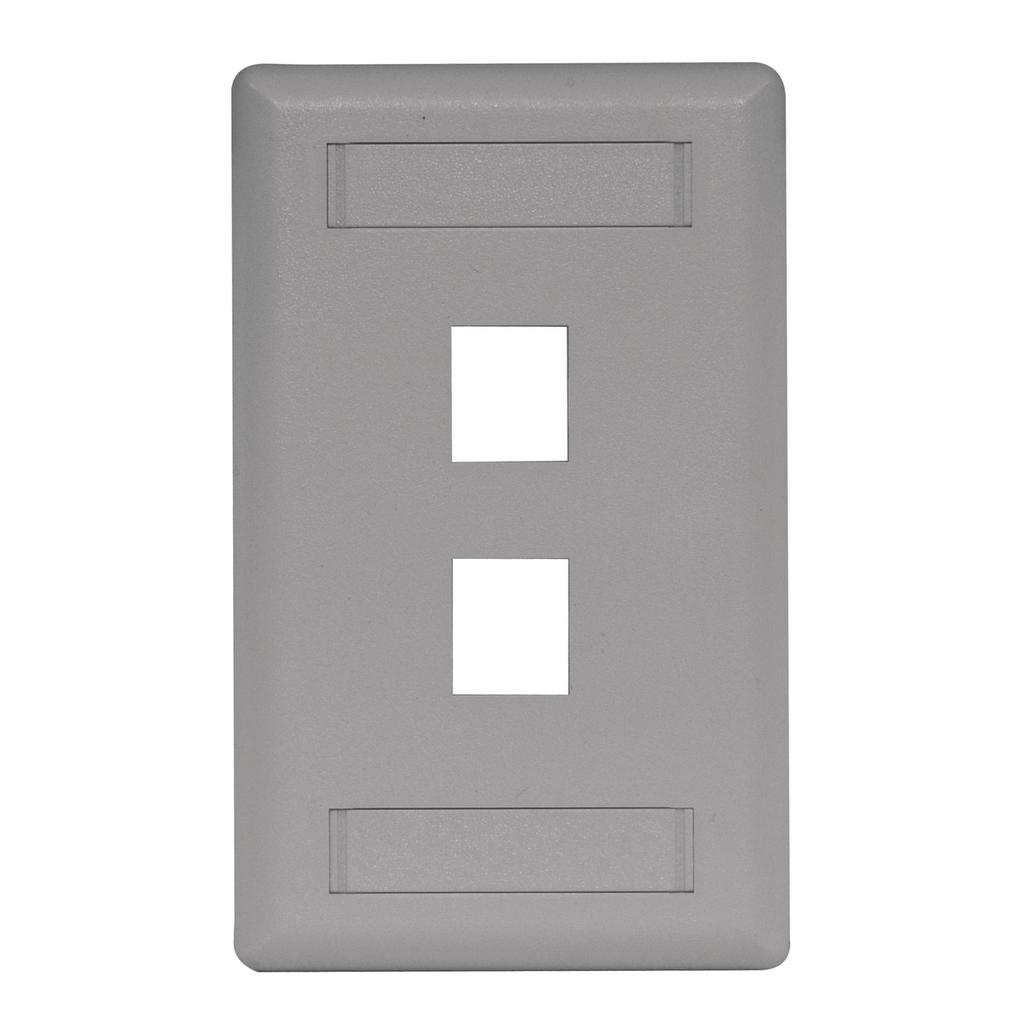 Mayer-Phone/Data/Multimedia Faceplate, Face Plate, Rear-Loading, 2-Port, Single-Gang, Gray-1