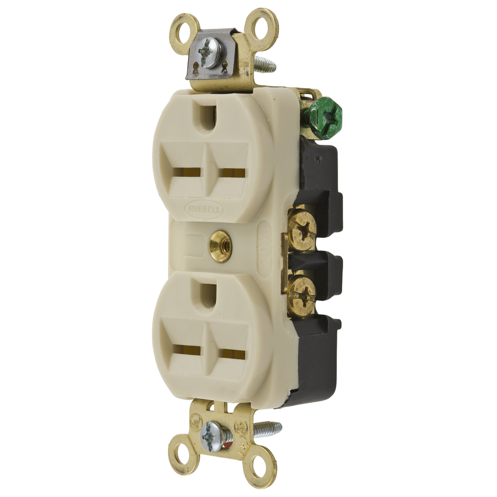Hubbell Wiring Devices HBL5652I 15 Amp 250 Volt 2-Pole 3-Wire NEMA 6-15R Ivory Straight Blade Duplex Receptacle