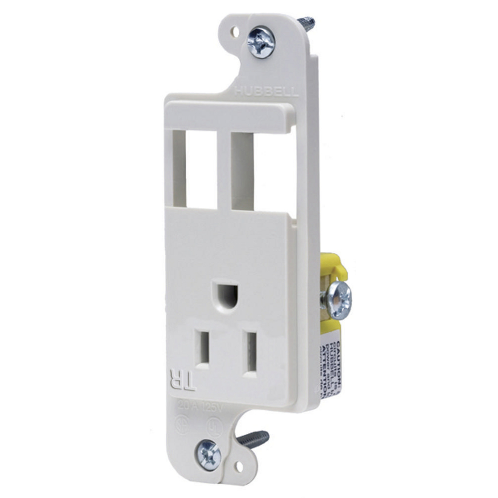 Hubbell RJ65WTR JLOAD® 15A 125V Multimedia Outlet, 1-Power Receptacle & 2-Open Ports - White