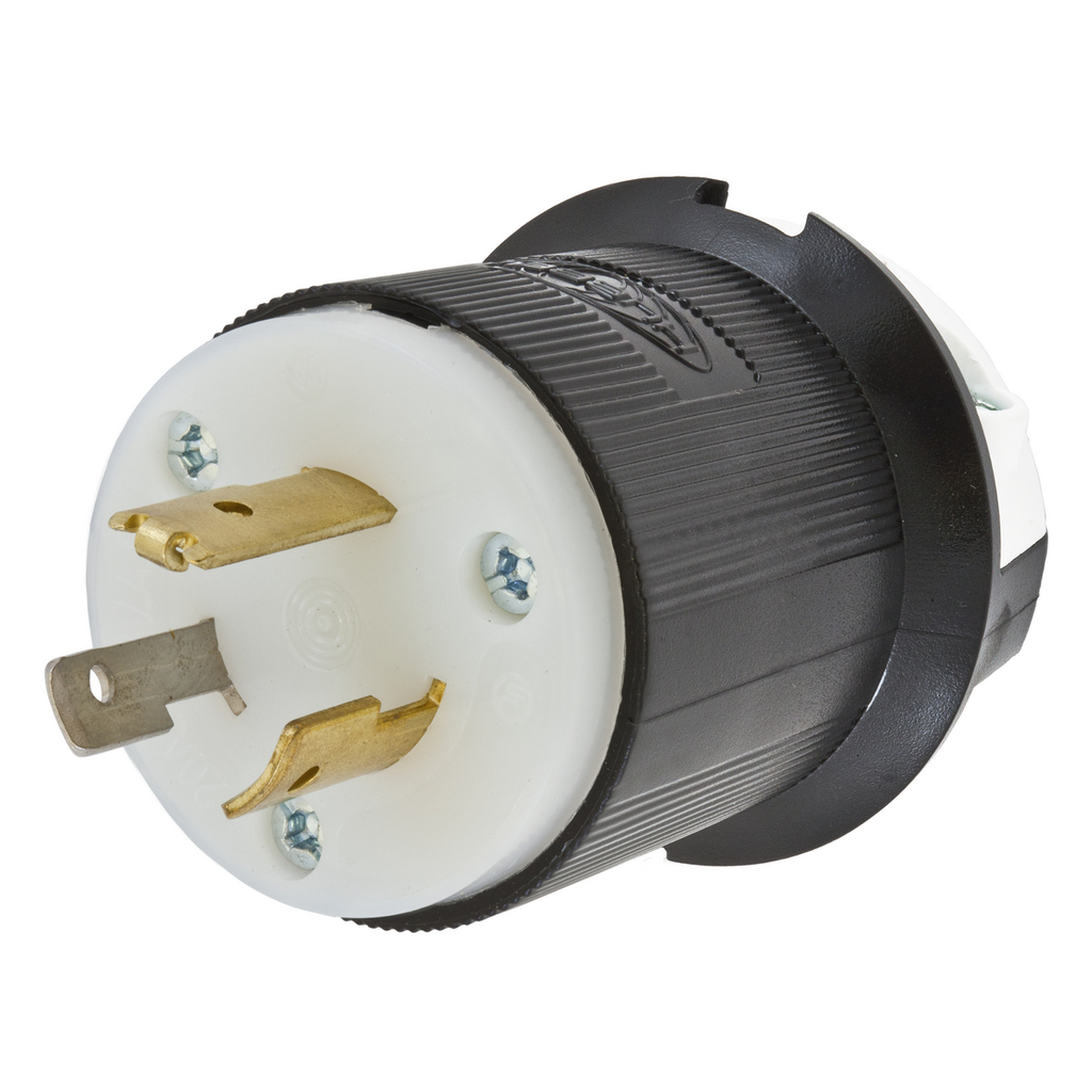 Hubbell Wiring Devices HBL3721 20 Amp 347 VAC 2-Pole 3-Wire NEMA L24-20P Black/White Nylon Locking Plug