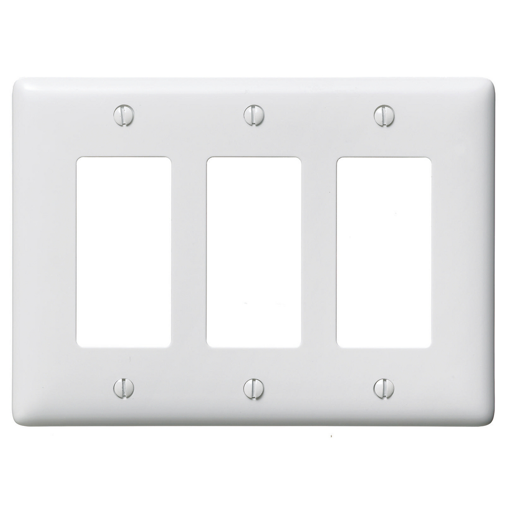 Hubbell Wiring Devices NP263W 3-Gang White Nylon Standard 3-Decorator Switch Wallplate