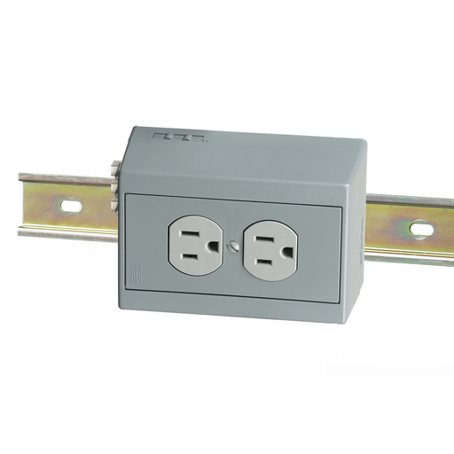 Mayer-DIN Rail Utility Box, Complete Unit- Duplex Receptacle with 5A Circuit Breaker, Horizontal, 1)15A Gray.-1