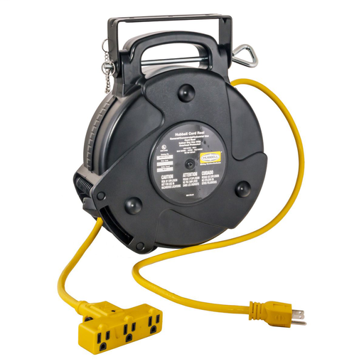 Mayer-Cord and Cable Reels, Commercial Cord Reel, 40', 15A 125V with Triple Tap, Yellow-1