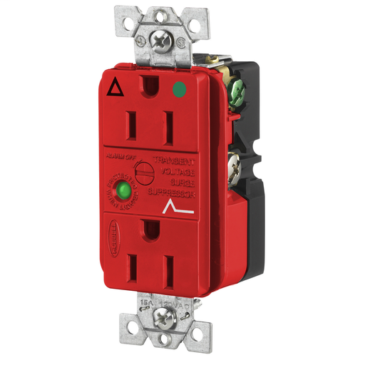 Hospital Grade Surge Suppression Receptacle, Isolated Ground, 15A 125V, 5-15R, Red
