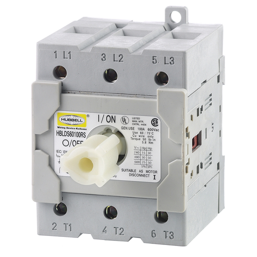 Mayer-Switches and Lighting Controls, Industrial Grade, Disconnect Switches, Replacement Switch, Three Pole, 60A 600V AC, Screw Terminals, Gray-1