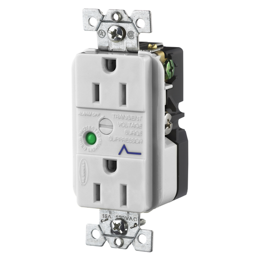 TVSS Duplex Receptacle with Light and Alarm, 15A 125V, 5-15R, Gray