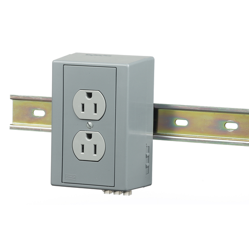 Mayer-DIN Rail Utility Box, Complete Unit- Duplex Receptacle, 1) 15A 125V, 2-Pole 3-Wire Grounding, 5-15R, Gray.-1