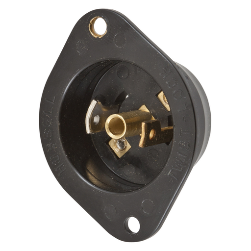 Mayer-Locking Devices, Midget Twist-Lock®, Industrial, Flanged Inlet, 15A 125V AC, 2-Pole 3-Wire Grounding, NEMA ML-2P, Screw Terminal, Black Nylon Flange.-1
