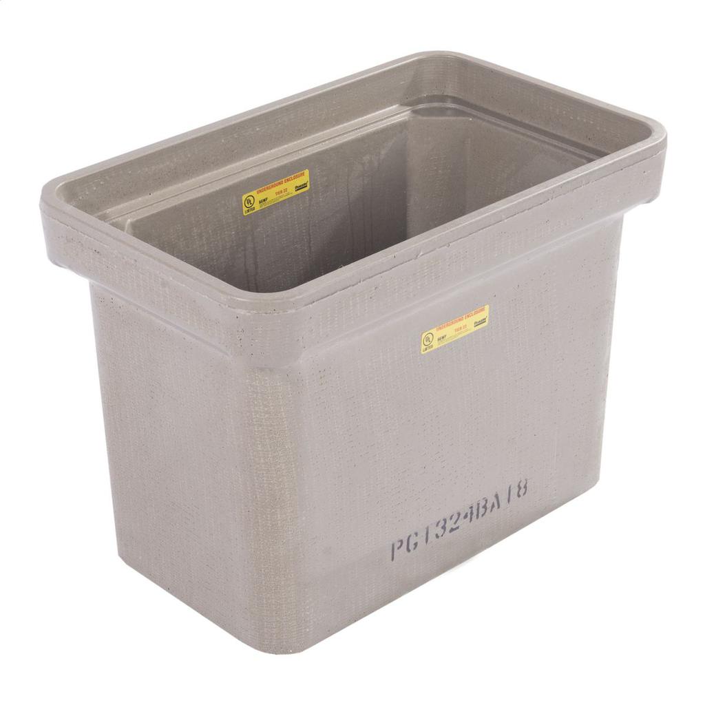 Quazite PG1324BA18 13 x 24 x 18 Inch Gray Polymer Concrete 22-Tier Rectangular Stackable Box