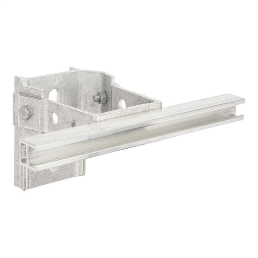 CONDUIT STANDOFF BRACKET, 6in POLE OFFSET, with 8in T-SLOT BAR