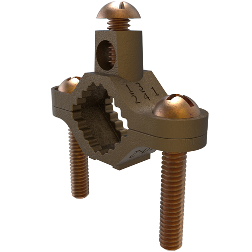 Mayer-Permaground Brass Ground Clamp, Conductor Range 2-10, Pipe Sizes 1/2 to 1in, UL, Direct Bury-1