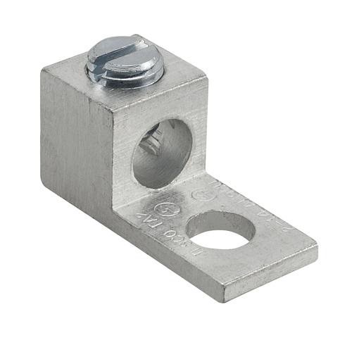 Mayer-Aluminum Mechanical Lug, Conductor Range 2-14, 1 Port, 1 Hole, 1/4in Bolt Size, Tin Plated, UL, CSA-1
