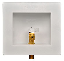 Plastic Lead-Free Ice Maker Outlet Boxes, Standard pack, Brass 1/4 turn valve, installed – 1/2? PEX conx