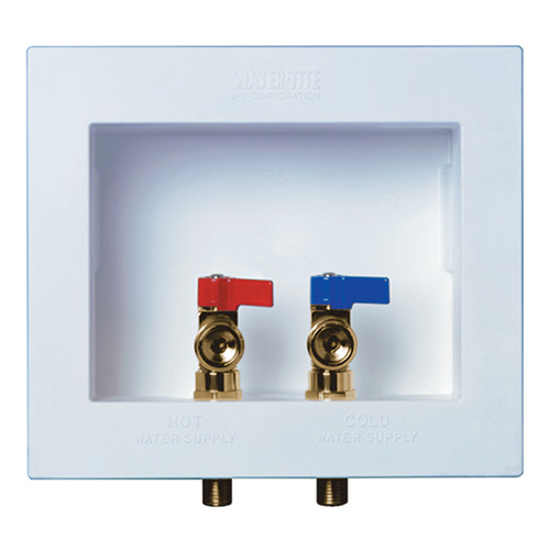 DU-ALL™ Dual Drain Washing Machine Outlet Box, Standard, Brass 1/4 turn valves, Installed – 1/2? sweat conx