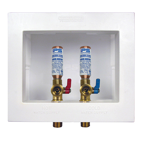 DU-ALL™ Dual Drain Washing Machine Outlet Boxes with Hammer Arrester Valves, Du All™ Washing Machine Boxes with Hammer Arresters InstalledStandard Pack, Single Lever VAlves w/Arresters installed – 1/2? CPVC Conx.