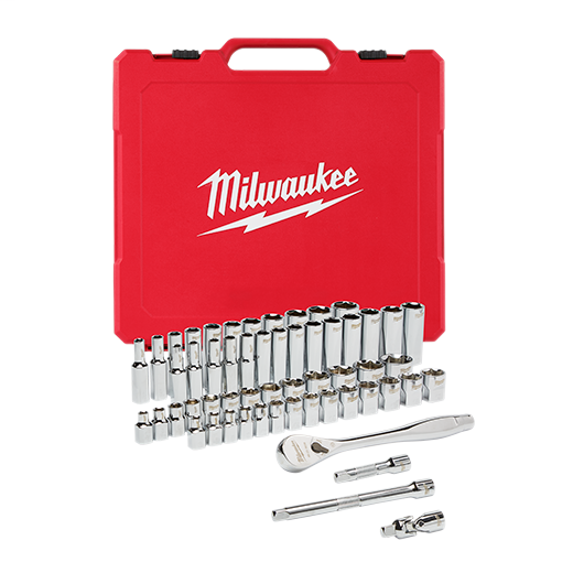 Milwaukee® 48-22-9008 Ratchet and Socket Set, Case Tool Storage, 4 deg Arc Swing, 1/2 in Drive, 56 Pieces, Steel