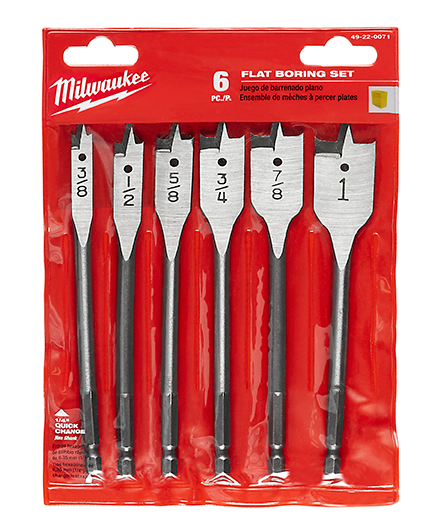 Milwaukee Tool 49-22-0071 6-Piece Flat Boring Bit Kit