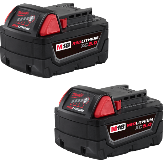 Milwaukee Tool 48-11-1852 M18 Redlithium XC5.0 2-Pack Extended Capacity Battery