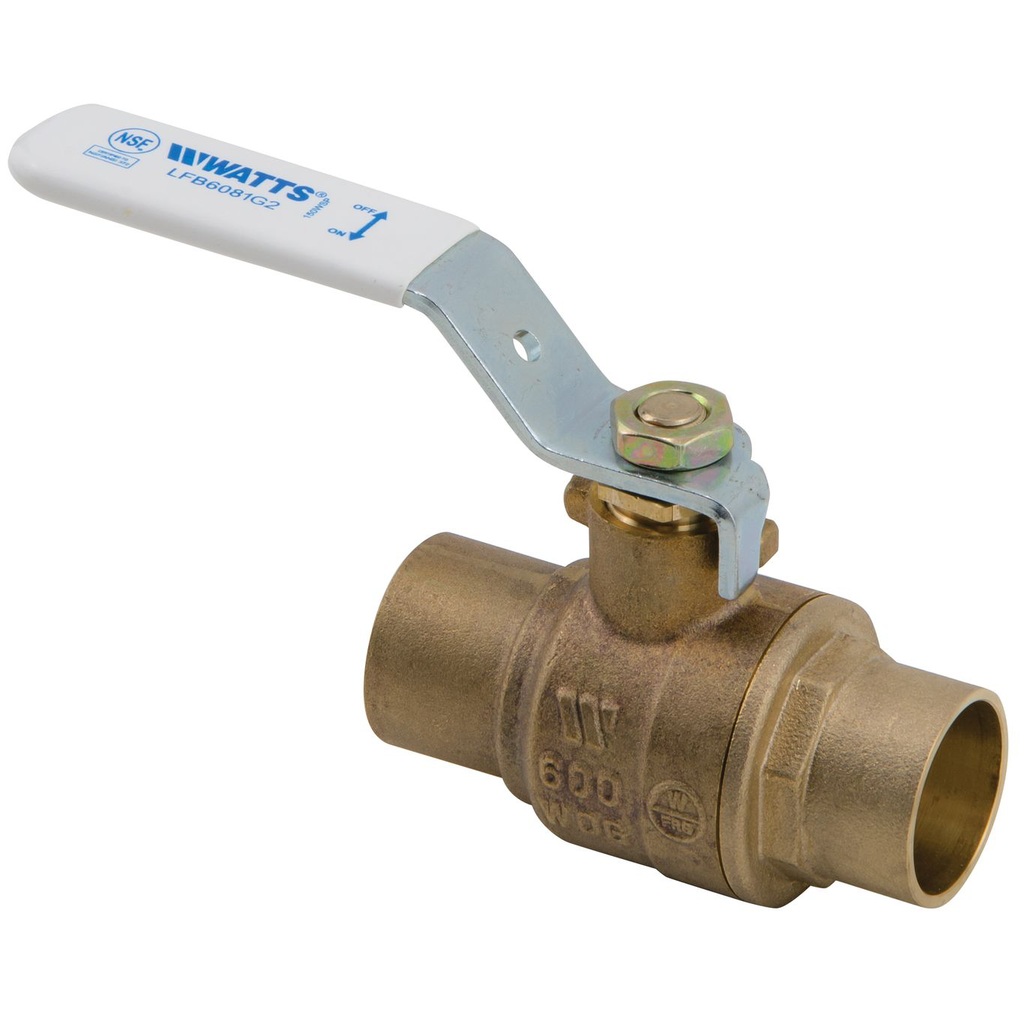 1 1/4 IN 2-Piece Full Port Lead Free Bronze Ball Valve, Solder End Connections