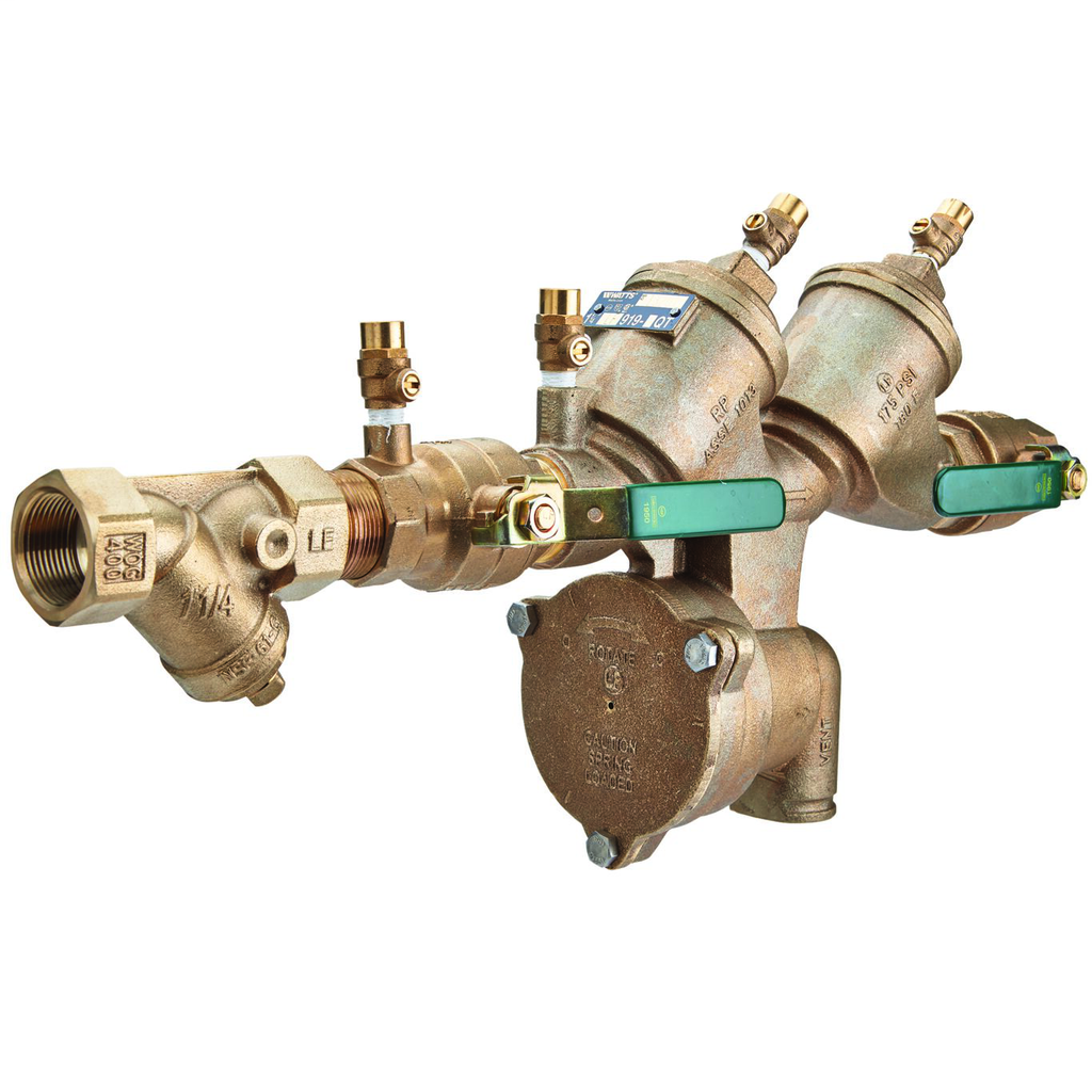 1 1/4 In Lead Free Reduced Pressure Zone Backflow Preventer Assembly, Quarter Turn Ball Valves, Strainer