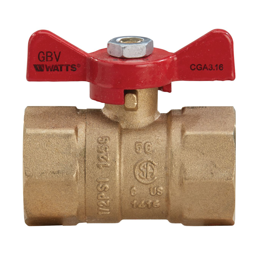 1 In 2-Piece Ball Valve For Gas With Npt Female Connections, Tee Handle