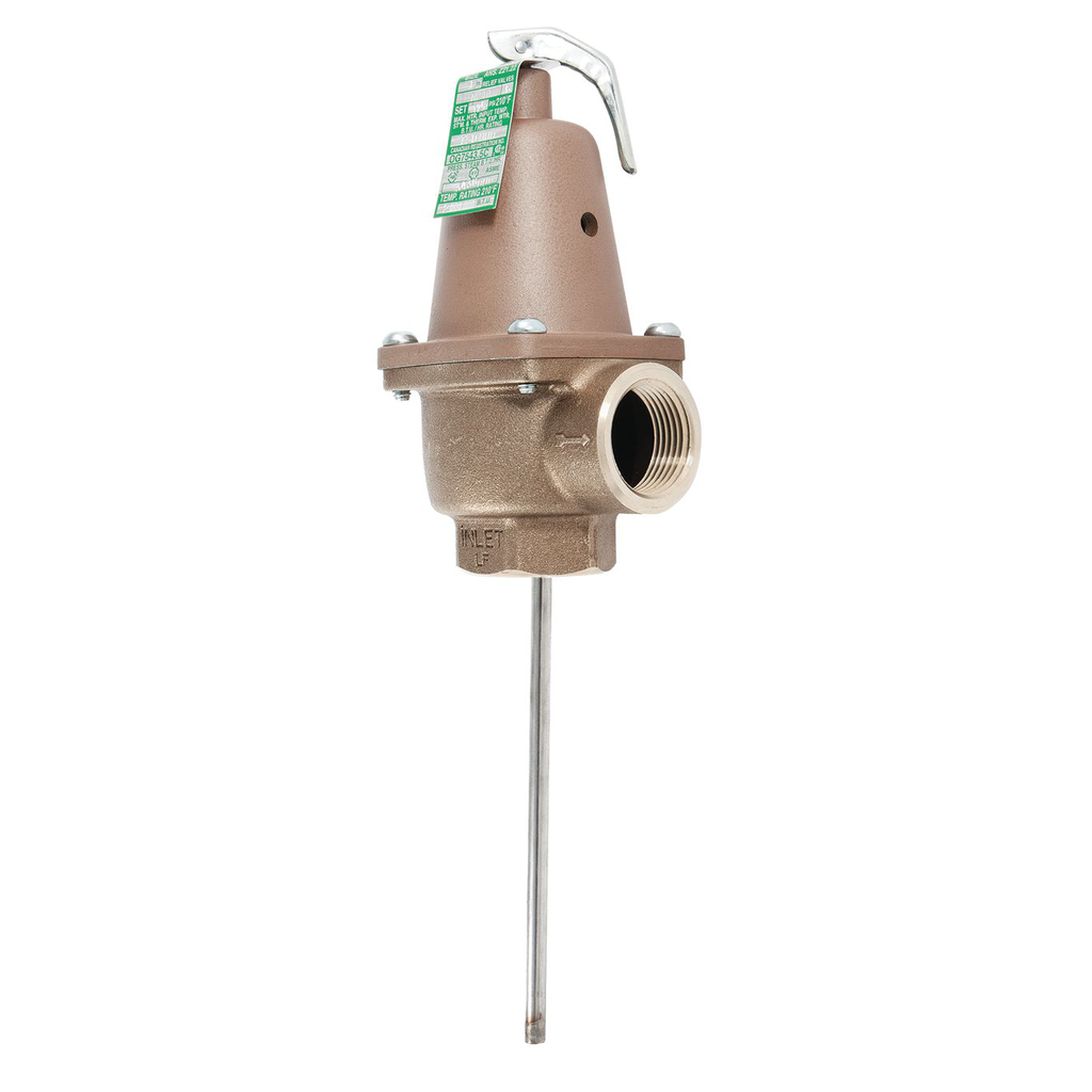 1 In Lead Free Automatic Reseating Temperature And Pressure Relief Valve, 150 psi, 210 degree F, Ss Thermostat