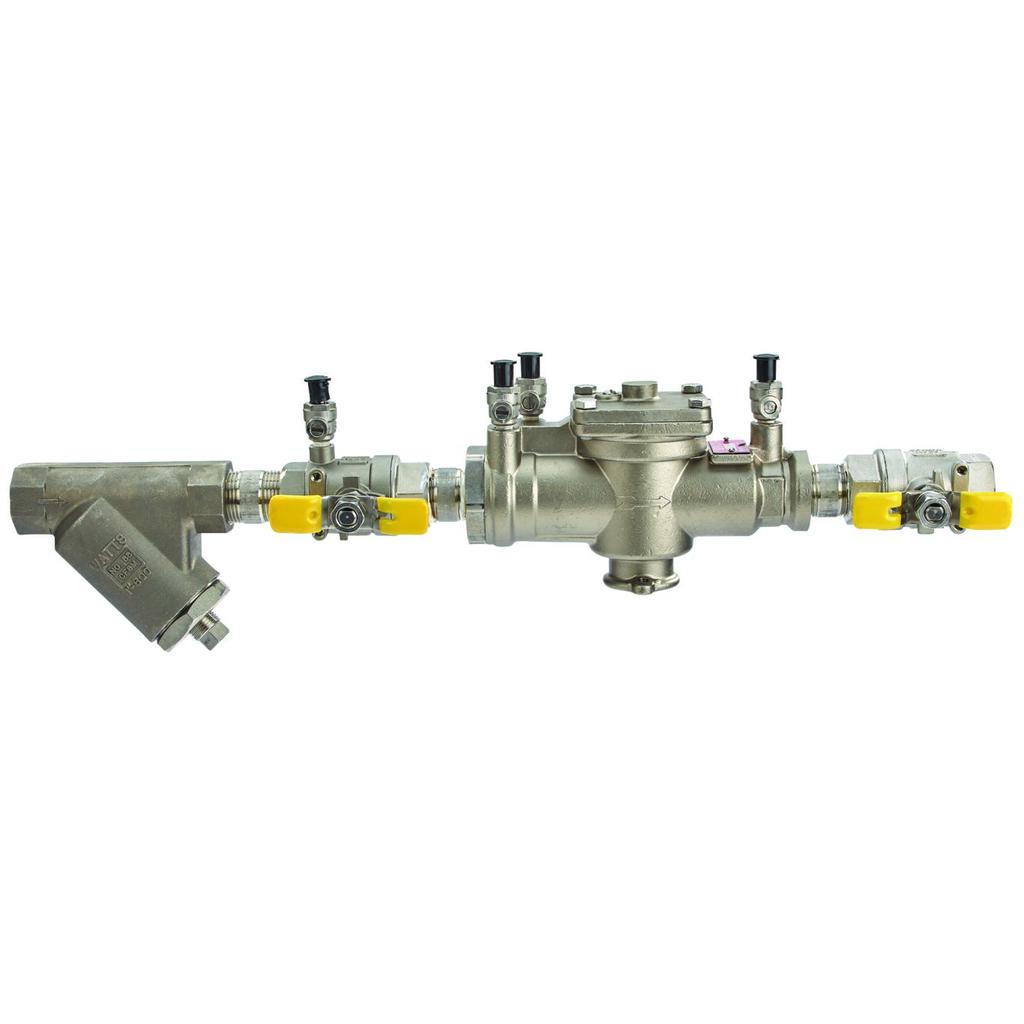 1 In Stainless Steel Reduced Pressure Zone Backflow Preventer Assembly, Quarter Turn Shutoff Valves, Bronze Strainer, Tee Handles