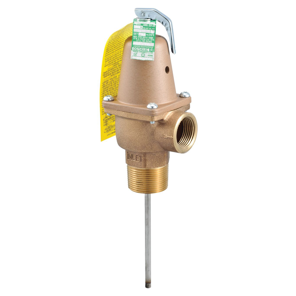1 1/4 In Bronze Automatic Reseating Temperature And Pressure Relief Valve, 150 psi, 210 degree F, 8 In Thermostat