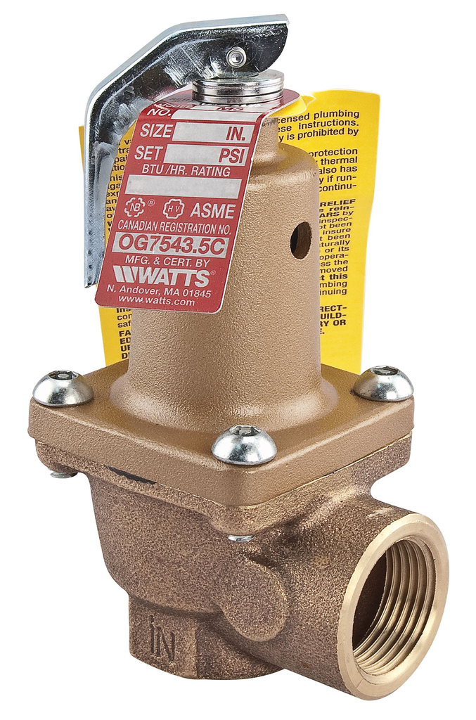 1 In Lead Free Boiler Pressure Relief Valve 125 psi, Threaded Female Connections