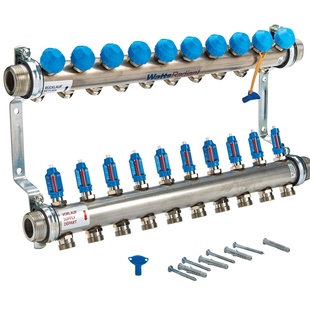 1 1/2 In Stainless Steel Manifold, 10 Circuits