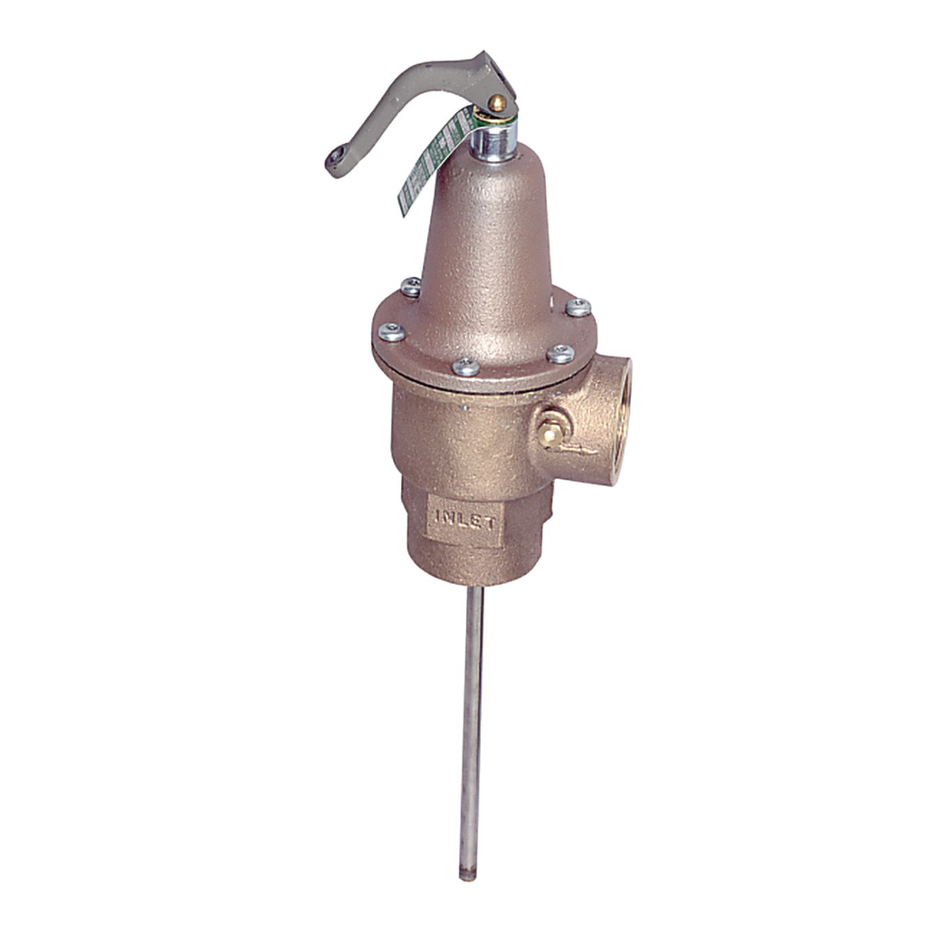 1 1/2 In Bronze Automatic Reseating Temperature And Pressure Relief Valve, 125 psi, 210 degree F, 8 In Ss Thermostat